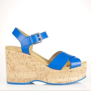 Women's Blue Vachetta Lorena Wedge Sandal